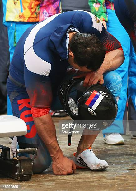 Alexey Voevoda of Russia team 1 celebrates winning gold during the Men's TwoMan Bobsleigh on Day 10 of the Sochi 2014 Winter Olympics at Sliding...