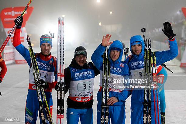 Alexey Volkov of Russia, Evgeniy Garanichev of Russia, Anton Shipulin of Russia, Dmitry Malyshko of Russia take 1st place during the IBU Biathlon...