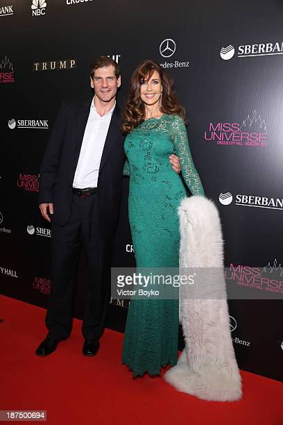 Alexey Yashin and Carol Alt attend the red carpet at Miss Universe Pageant Competition 2013 on November 9 2013 in Moscow Russia