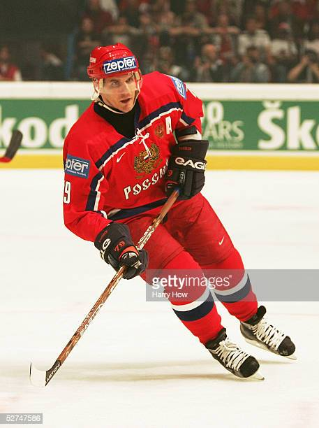 Alexey Yashin of Russia skates against Austria in the IIHF World Men's Championships preliminary round game at Wiener Stadthalle on April 30 2005 in...