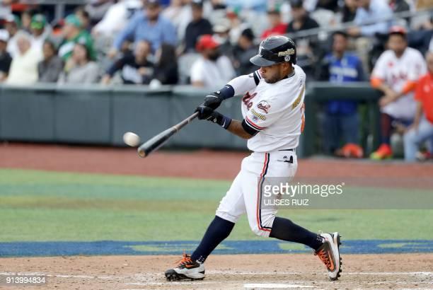 Alexi Amarista Caribes de Anzoategui of Venezuela bats against Aguilas Cibaenas of Republica Dominicana during the Caribbean Baseball Series at the...