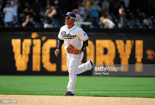 Alexi Amarista of the San Diego Padres runs in from the outfield after the Padres beat the Miami Marlins 10 in a baseball game at Petco Park on May 8...