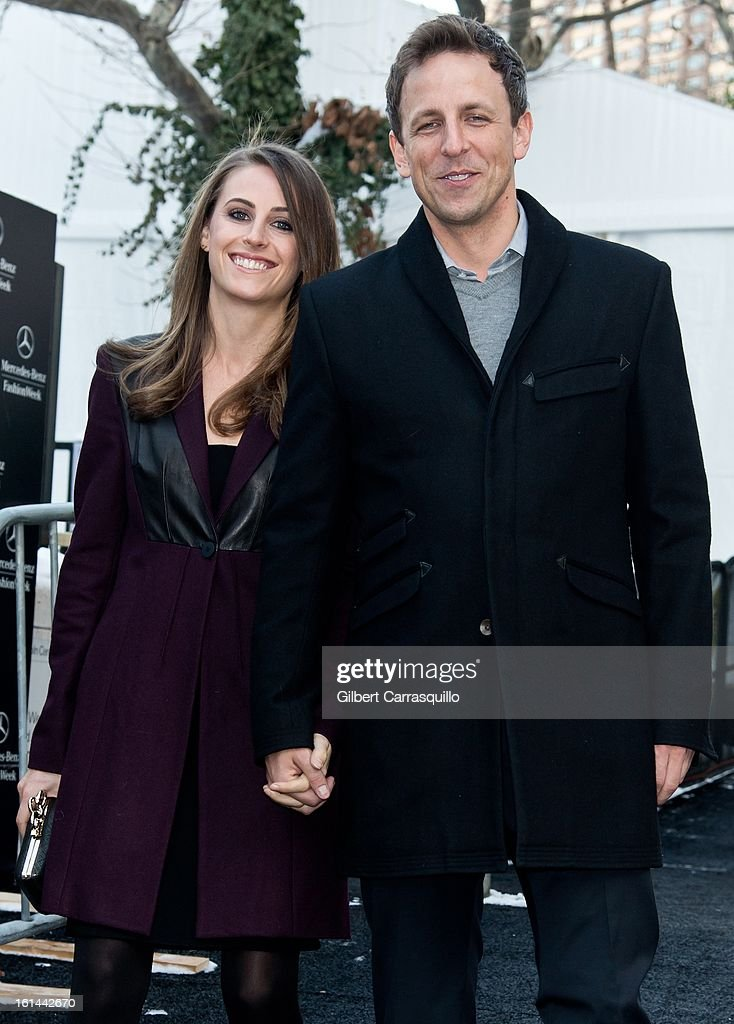 Alexi Ashe and actor/comedian Seth Meyers attend Fall 2013 Mercedes-Benz Fashion Show at The Theater at Lincoln Center on February 10, 2013 in New York City.