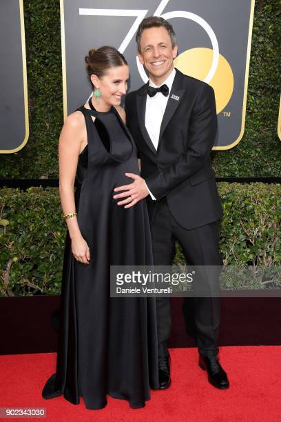 Alexi Ashe and Golden Globe Awards host Seth Meyers attend The 75th Annual Golden Globe Awards at The Beverly Hilton Hotel on January 7 2018 in...