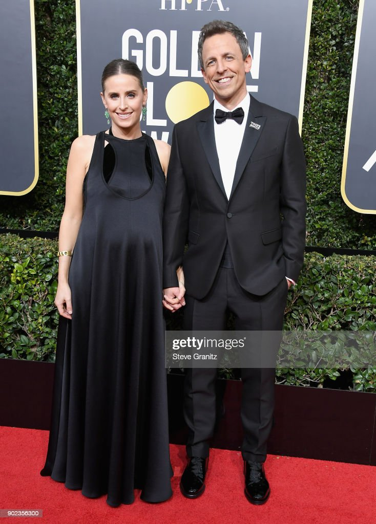 Alexi Ashe and Seth Meyers attend The 75th Annual Golden Globe Awards at The Beverly Hilton Hotel on January 7, 2018 in Beverly Hills, California.