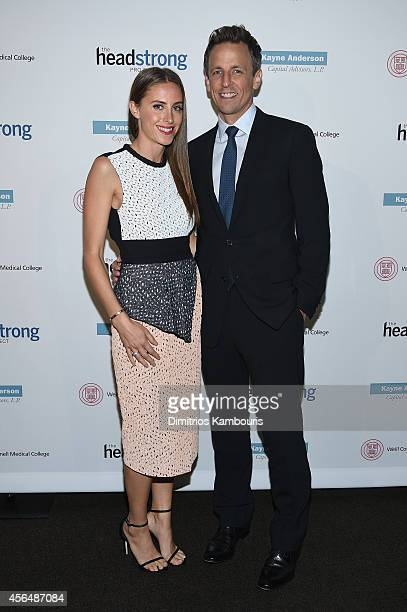 Alexi Ashe and Seth Meyers attend The Headstrong Project Words Of War Benefit at Tribeca 360 on October 1 2014 in New York City