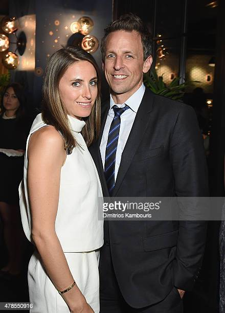 Alexi Ashe and Seth Meyers attend The Orchard And The Cinema Society Host A Special Screening Of Cartel Land after party at Tribeca Grand Hotel on...