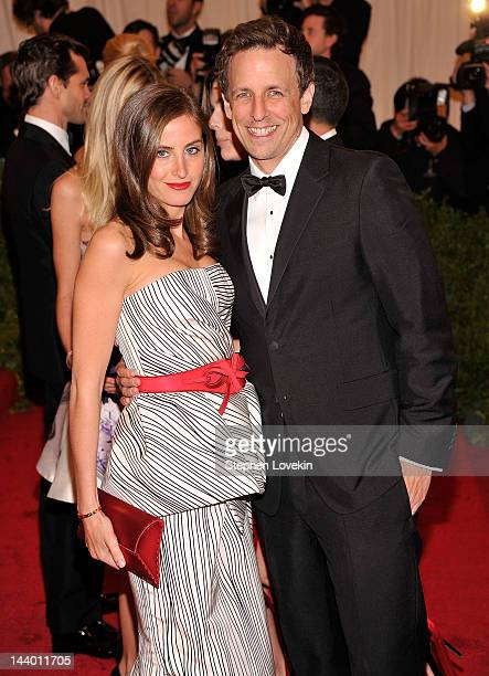 Alexi Ashe and Seth Meyers attend the Schiaparelli And Prada Impossible Conversations Costume Institute Gala at the Metropolitan Museum of Art on May...