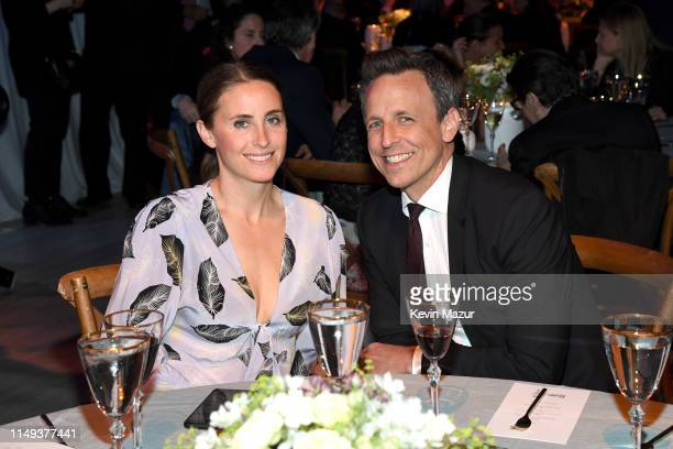 Alexi Ashe and Seth Meyers attend the Statue Of Liberty Museum Opening Celebration on May 15 2019 at Ellis Island in New York City