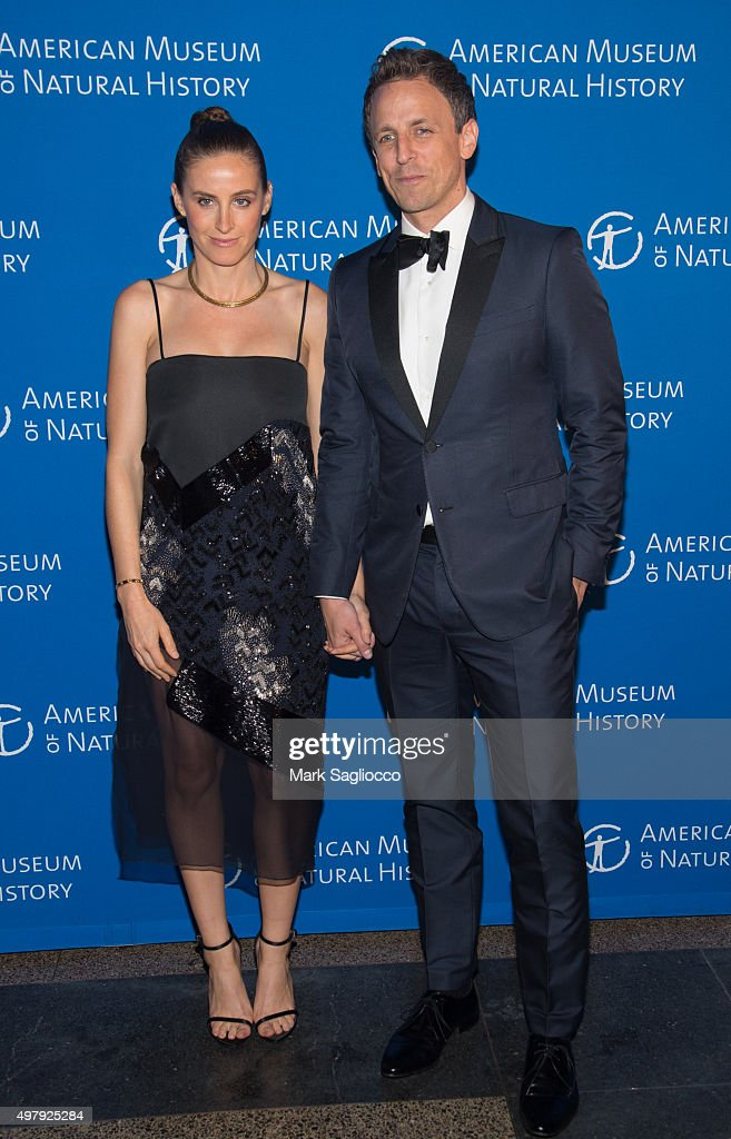 Alexi Ashe (L) and Television Personality Seth Meyers attends the 2015 American Museum Of Natural History Museum Gala at American Museum of Natural History on November 19, 2015 in New York City.