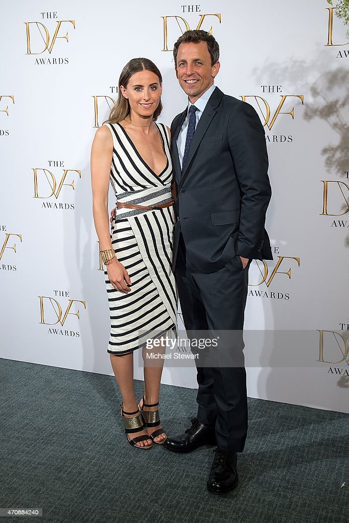 Alexi Ashe (L) and tv personality Seth Meyers attend the 2015 DVF Awards at United Nations on April 23, 2015 in New York City.