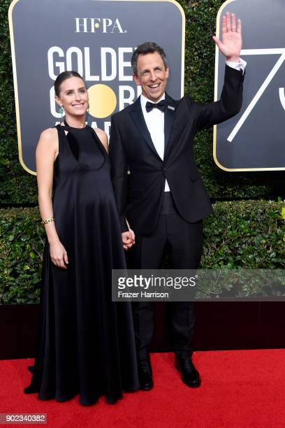 Alexi Ashe Meyers and Seth Meyers attend The 75th Annual Golden Globe Awards at The Beverly Hilton Hotel on January 7 2018 in Beverly Hills California