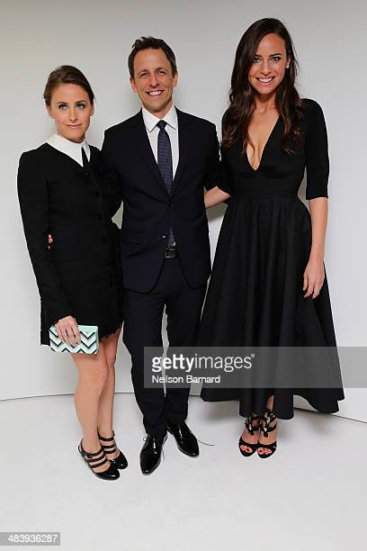 Alexi Ashe Seth Meyers and Ariel Ashe attend the Tiffany Debut of the 2014 Blue Book on April 10 2014 at the Guggenheim Museum in New York United...