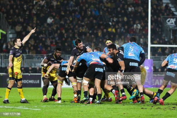 Alexi Bales of La Rochelle during the European Challenge Cup match between La Rochelle and Zebre at Stade Marcel Deflandre on January 11 2019 in La...