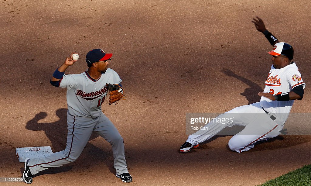 Alexi Casilla #12 of the Minnesota Twins throws to first base to turn a double play after forcing out Wilson Betemit #24 of the Baltimore Orioles at second base during the seventh inning of opening day at Oriole Park at Camden Yards on April 6, 2012 in Baltimore, Maryland.