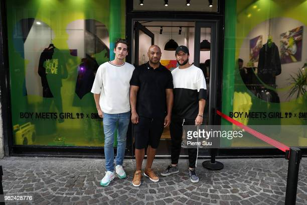 Alexi gremmel Kareem Burke and Jason Elbazl attend the Boy Meets Girl Black Label X Smiley Original as part of Paris Fashion Week on June 23 2018 in...
