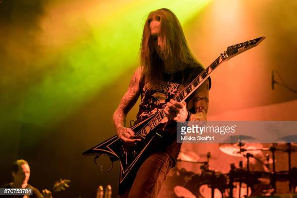 Alexi Laiho of Children of Bodom performs at UC Theatre on November 5 2017 in Berkeley California