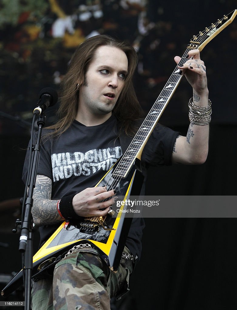 Alexi Laiho of Children Of Bodom performs on day one of the Download Festival at Donington Park on June 10, 2011 in Castle Donington, England.