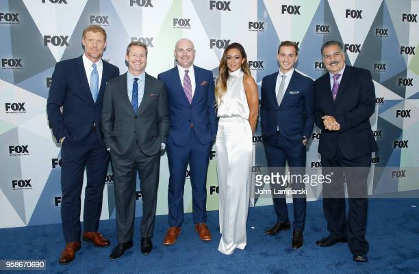 Alexi Lalas Rob Stone John Strong Kate Abdo Stu Holden and Fernando Fiore attend 2018 Fox Network Upfront at Wollman Rink Central Park on May 14 2018...