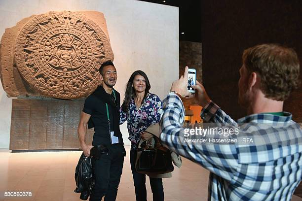 Alexi Lalas take picture of Hidetoshi Nakata as they visit the National Museum of Anthropolgy with the FIFA Legends ahead of the 66th FIFA Congress...