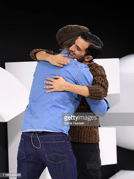 Alexi Lubomirski hugs Imran Amed during #BoFVOICES on November 21, 2019 in Oxfordshire, England.