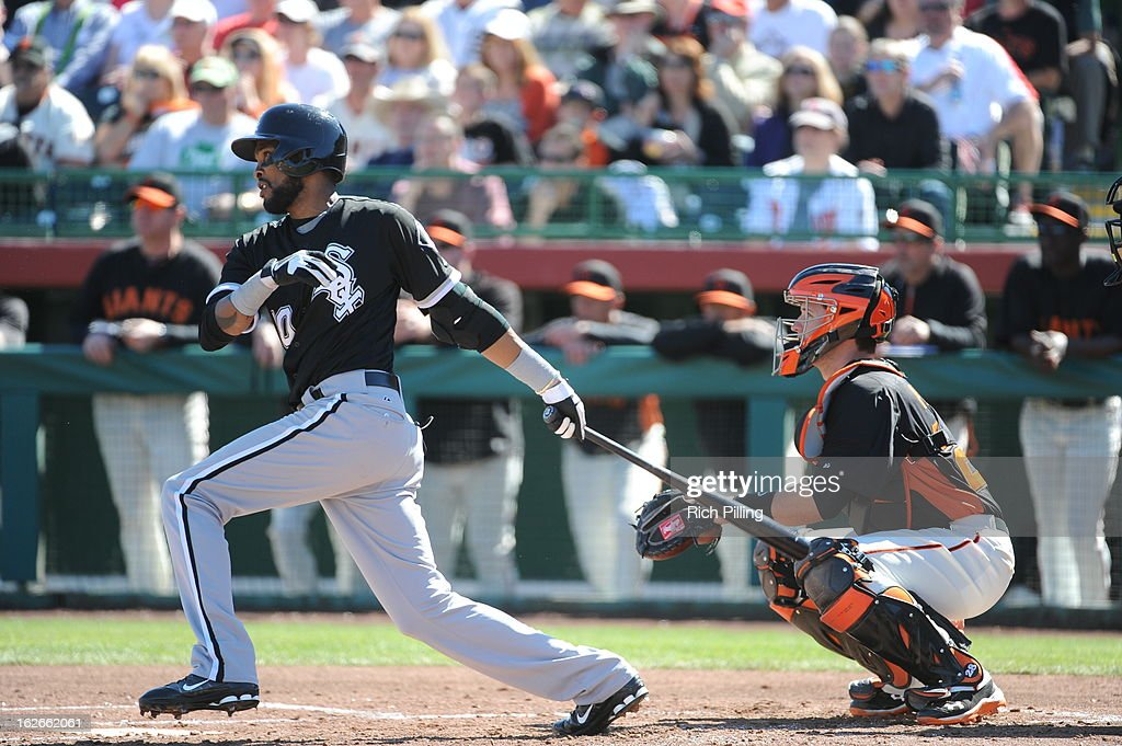 Alexi Ramirez #10 of the Chicago White Sox bats during the game against the San Francisco Giants on February 25, 2013 at Scottsdale Stadium in Scottsdale, Arizona. The Giants and White Sox played to a 9-9 tie.
