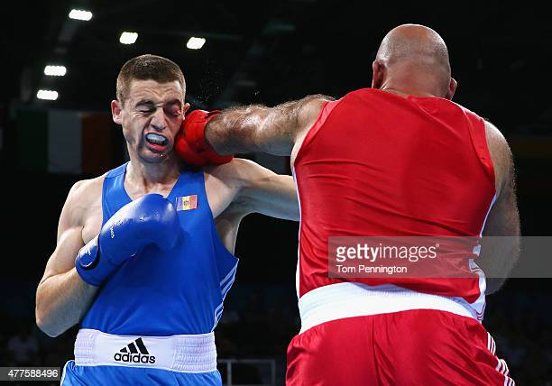 Alexi Zavatin of Moldova and Adbala Kadan of Israel compete in the Men's Super Heavy 91kg round of 32 bout during day six of the Baku 2015 European...