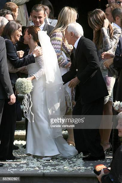 Alexia Aquilani and Giorgio Armani during The Wedding of Alexia Aquilani and Andrea Camerana October 9 2005 at Castello di Rivalta in Castello di...