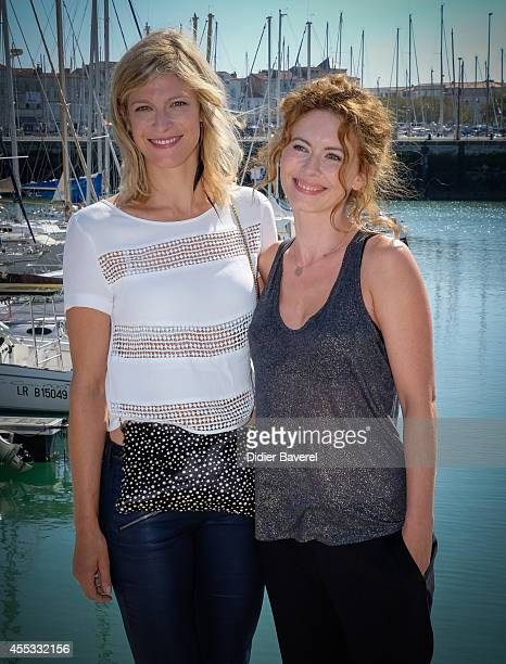 Alexia Barlier and Mathilde Lebrequier attend the photocall of 'Falco' as part of 16th Festival of TV Fiction of La Rochelle on September 12 2014 in...