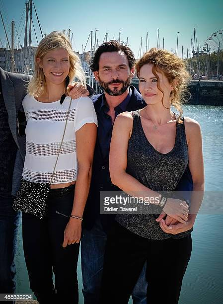 Alexia Barlier Sagamore Stevenin and Mathilde Lebrequier attend the photocall of 'Falco' as part of 16th Festival of TV Fiction of La Rochelle on...