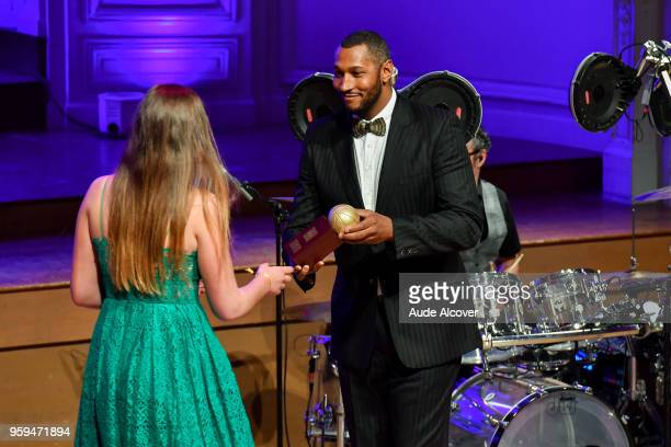 Alexia Chartereau and Boris Diaw during the Trophy Award LNB Basketball at Salle Gaveau on May 16 2018 in Paris France
