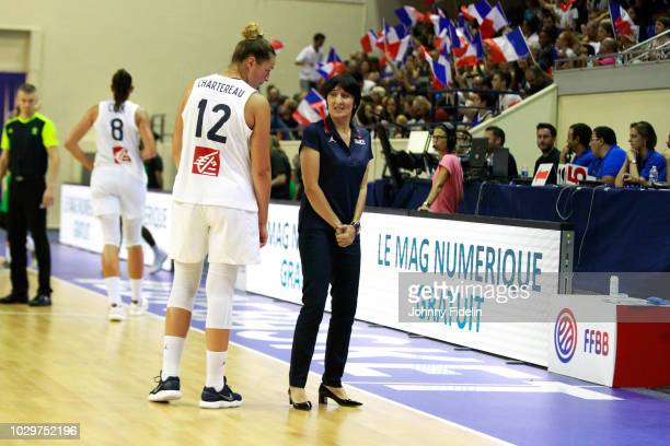 Alexia Chartereau and Valerie Garnier head coach of France explain a good block during the Women's International Friendly match between France and...