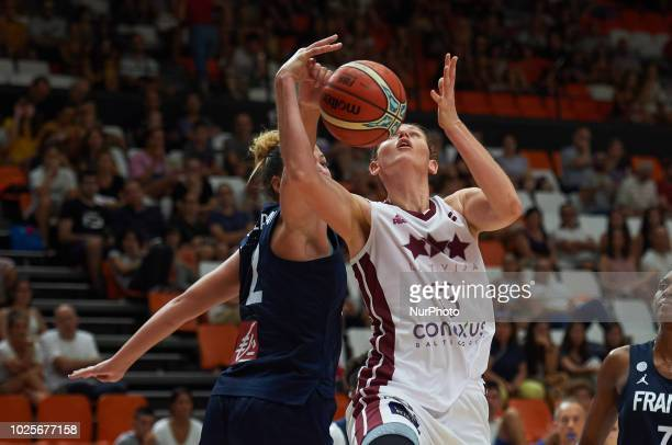 Alexia Chartereau of France National team and Aija Brumermane of Latvia National team during the international friendly basket match between France...