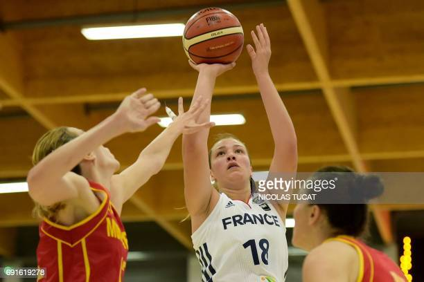 Alexia Chartereau of France shoots during a friendly basketball match between France and Montenegro on June 2 2017 in Villenave d'Ornon southwestern...