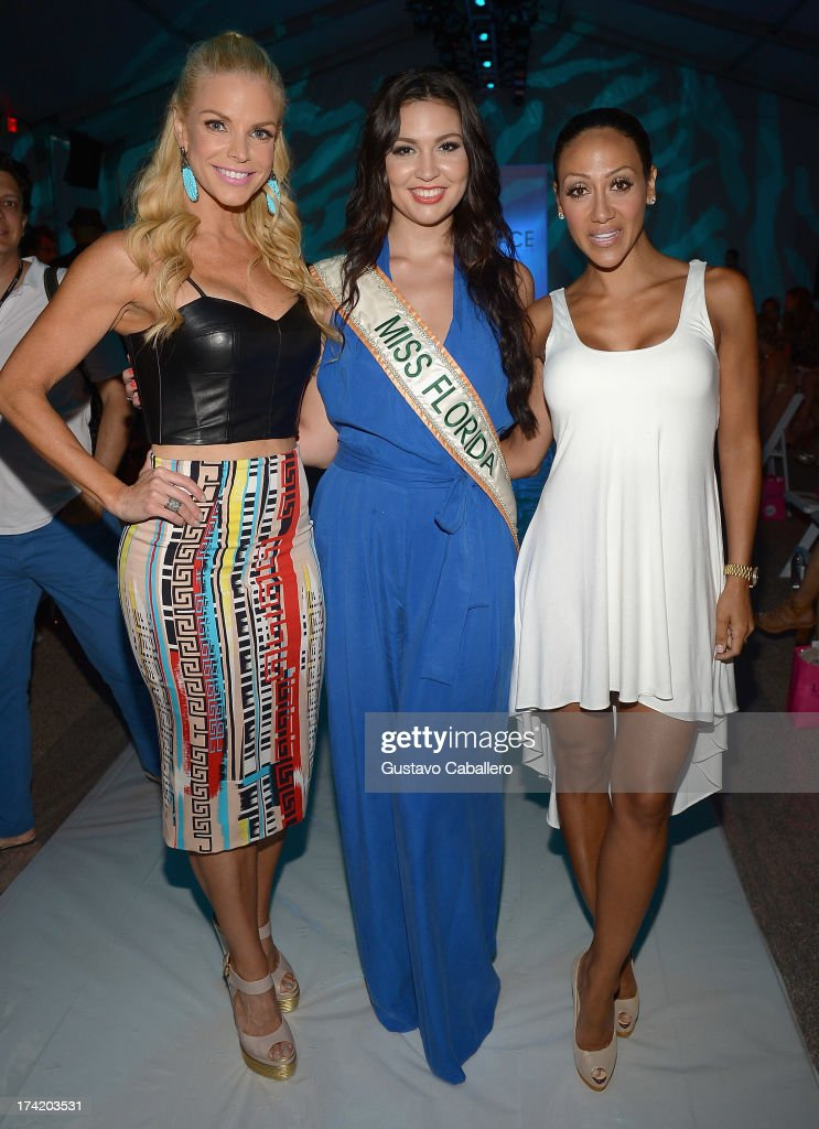 Alexia Echevarria, Cassandra Mandeville and Melissa Gorga pose with Ipanema at the L*SPACE By Monica Wise show during Mercedes-Benz Fashion Week Swim 2014 at Cabana Grande at the Raleigh on July 21, 2013 in Miami, Florida.