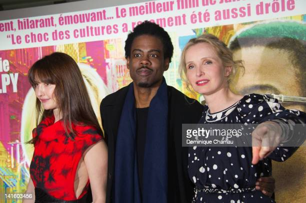 Alexia Landeau Chris Rock and Julie Delpy attend '2 Days In New York' Premiere at Mk2 Bibliotheque on March 19 2012 in Paris France