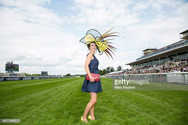 Alexia Masseron wins the 'Prix d'Elegance' during the 167th 'Prix de Diane Longines' on June 19 2016 in Chantilly France