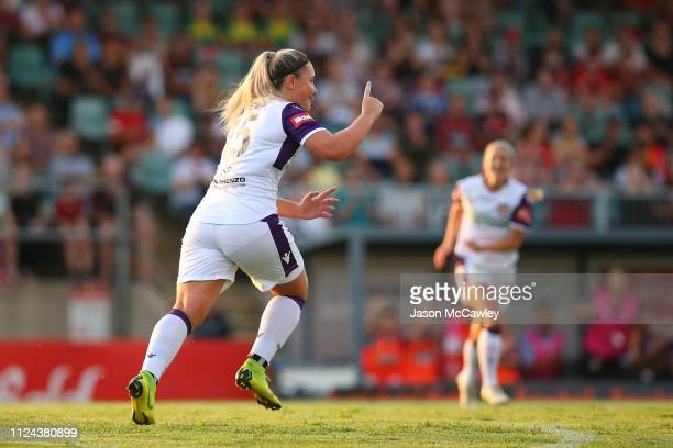 Alexia Moreno of the Glory celebrates scoring a goal during the round 13 WLeague match between the Western Sydney Wanderers and the Perth Glory at...