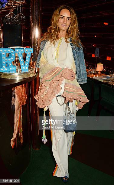 Alexia Niedzielski attends a dinner hosted by Roger Vivier to celebrate the Prismick Denim collection by Camille Seydoux at Casa Cruz on March 17...