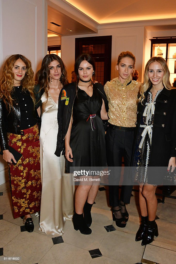 Alexia Niedzielski, Elisa Sednaoui-Dellal, Atlanta de Cadenet, Sabine Getty and Harley Viera Newton attend as mytheresa.com and Burberry celebrate the new MYT Woman at Thomas's on February 21, 2016 in London, England.