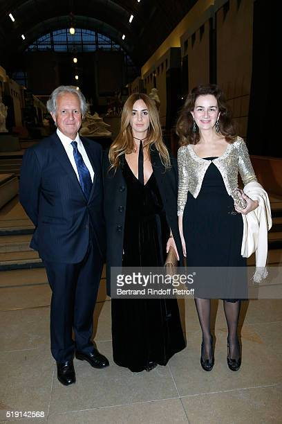 Alexia Niedzielski standing between her parents Lawyer Cyrille Niedzielski and his wife attend the Societe des Amis du Musee D'Orsay Dinner and...
