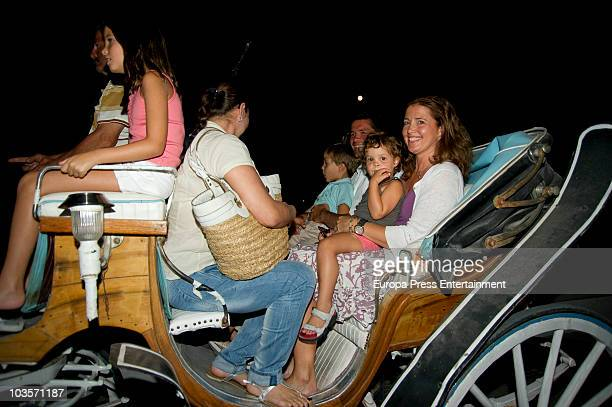 Alexia of Greece and Carlos Morales with their kids Amelia Morales Carlos Morales jr and Arrieta Morales on August 24 2010 in Spetses Greece