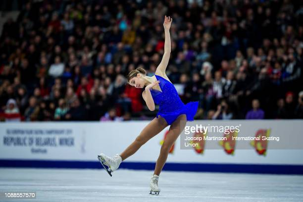 Alexia Paganini of Switzerland competes in the Ladies Free Skating during day three of the ISU European Figure Skating Championships at Minsk Arena...