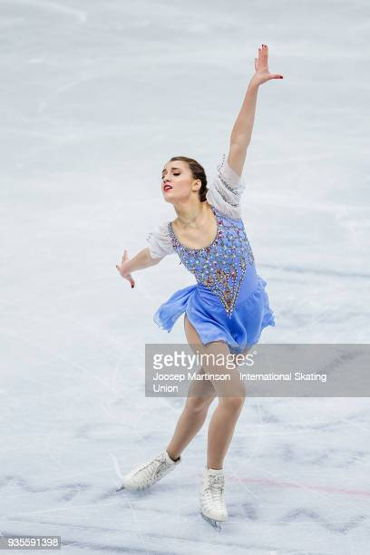 Alexia Paganini of Switzerland competes in the Ladies Short Program during day one of the World Figure Skating Championships at Mediolanum Forum on...