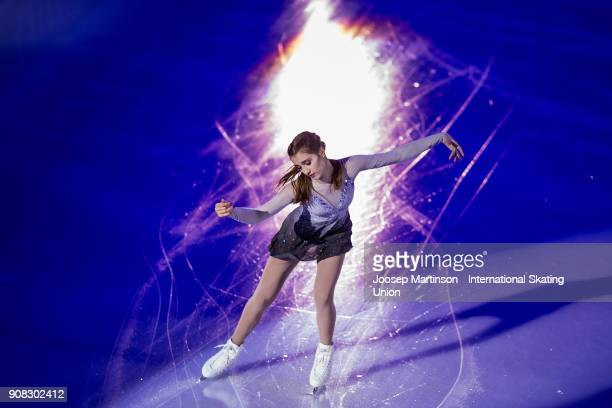 Alexia Paganini of Switzerland performs in the Gala Exhibition during day five of the European Figure Skating Championships at Megasport Arena on...