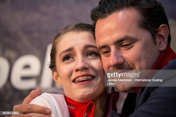 Alexia Paganini of Switzerland react at the kiss and cry in the Ladies Free Skating during the Nebelhorn Trophy 2017 at Eissportzentrum on September...