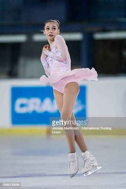 Alexia Paganini of the United States competes during the junior ladies free skating on day two of the ISU Junior Grand Prix of Figure Skating on...
