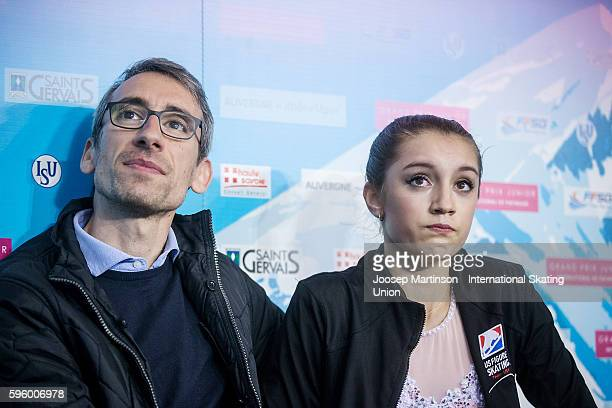 Alexia Paganini of the United States looks dejected after the junior ladies free skating on day two of the ISU Junior Grand Prix of Figure Skating on...