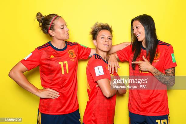 Alexia Putellas Amanda Sampedro and Jennifer Hermoso of Spain pose for a portrait during the official FIFA Women's World Cup 2019 portrait session at...