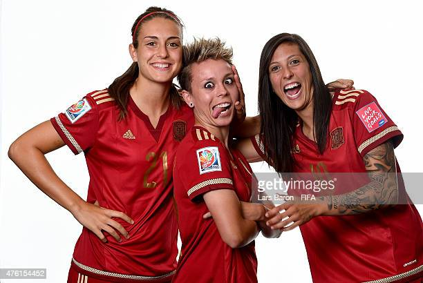 Alexia Putellas Amanda Sampedro and Jennifer Hermoso of Spain pose during the FIFA Women's World Cup 2015 portrait session at Sheraton Le Centre on...